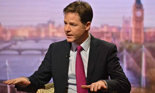 Nick Clegg on the Andrew Marr Show. He is promising to sign the NHS up to a national 'zero suicide' campaign. Photograph: Handout/Getty Images